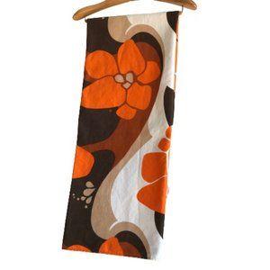 Vintage Orange Brown Floral Psychedelic Tablecloth
